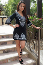 Be The One White And Black Printed Long Sleeve Shift Dress 2