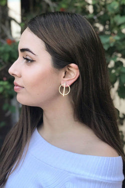 Beauty And Bliss Gold Metal Ring Bar Centre Earrings 1