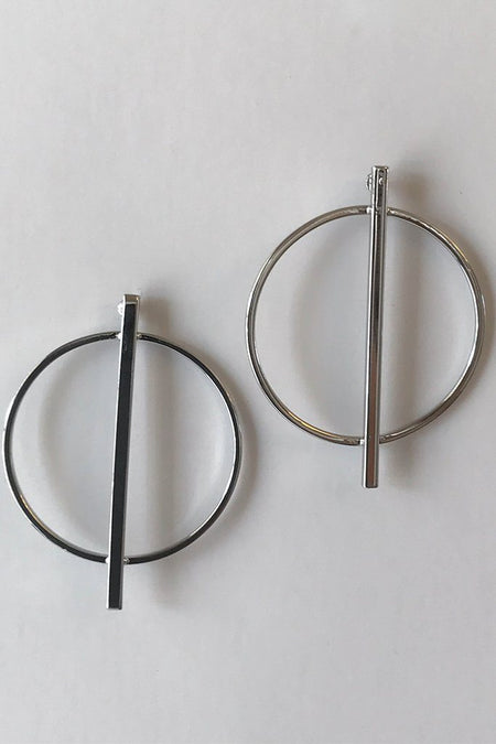 Beauty And Bliss Silver Metal Ring Bar Centre Earrings 1