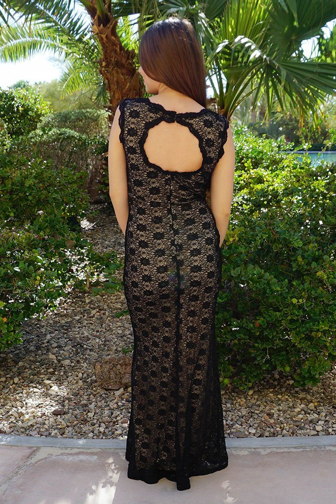 Beauty And Grace Black Sequin Lace Maxi Dress 3
