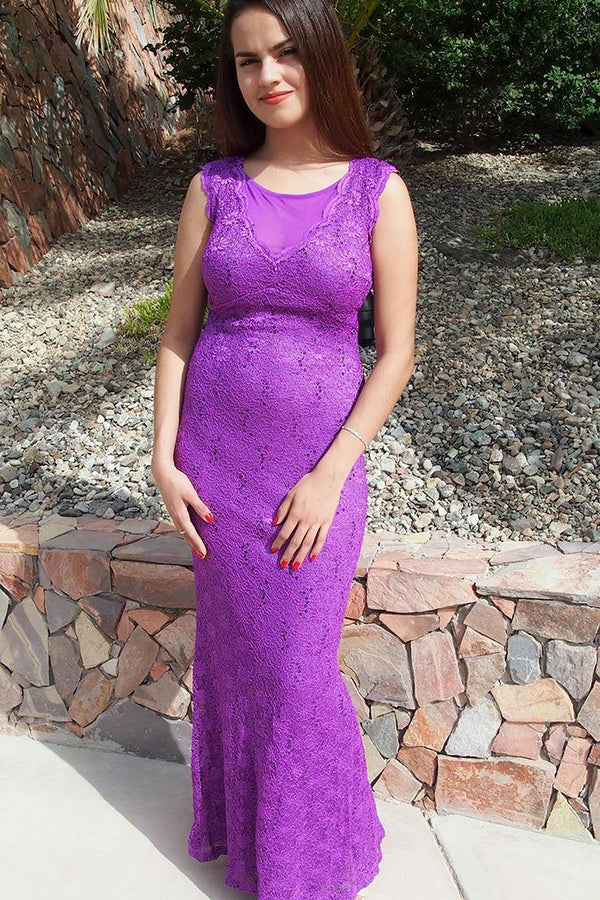 Beauty And Grace Purple Sequin Lace Maxi Dress 4