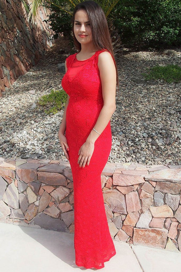 Beauty And Grace Red Sequin Lace Maxi Dress 3
