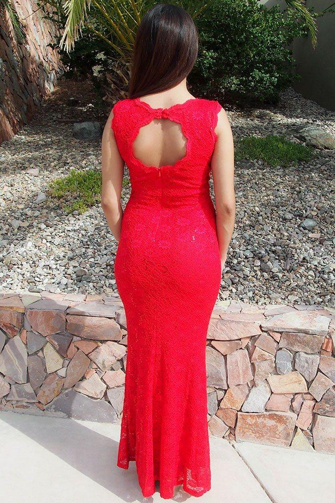 Beauty And Grace Red Sequin Lace Maxi Dress 2