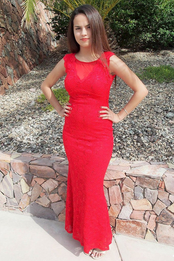 Beauty And Grace Red Sequin Lace Maxi Dress 4