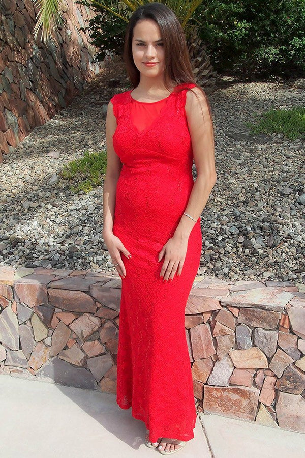 Beauty And Grace Red Sequin Lace Maxi Dress 1