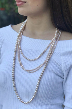 Before All Else Multi Strand Layered Long Nude Pearl Necklace 1