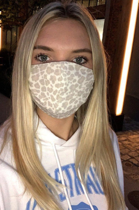 Beige Cheetah Print Cloth Face Mask 1