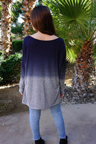 Big City Navy Blue Ombre Wide Neck Long Sleeve Top 3