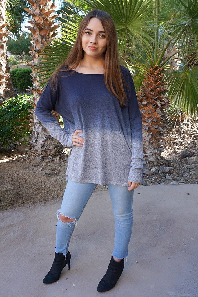 Big City Navy Blue Ombre Wide Neck Long Sleeve Top 4