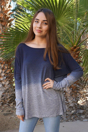 Big City Navy Blue Ombre Wide Neck Long Sleeve Top 1