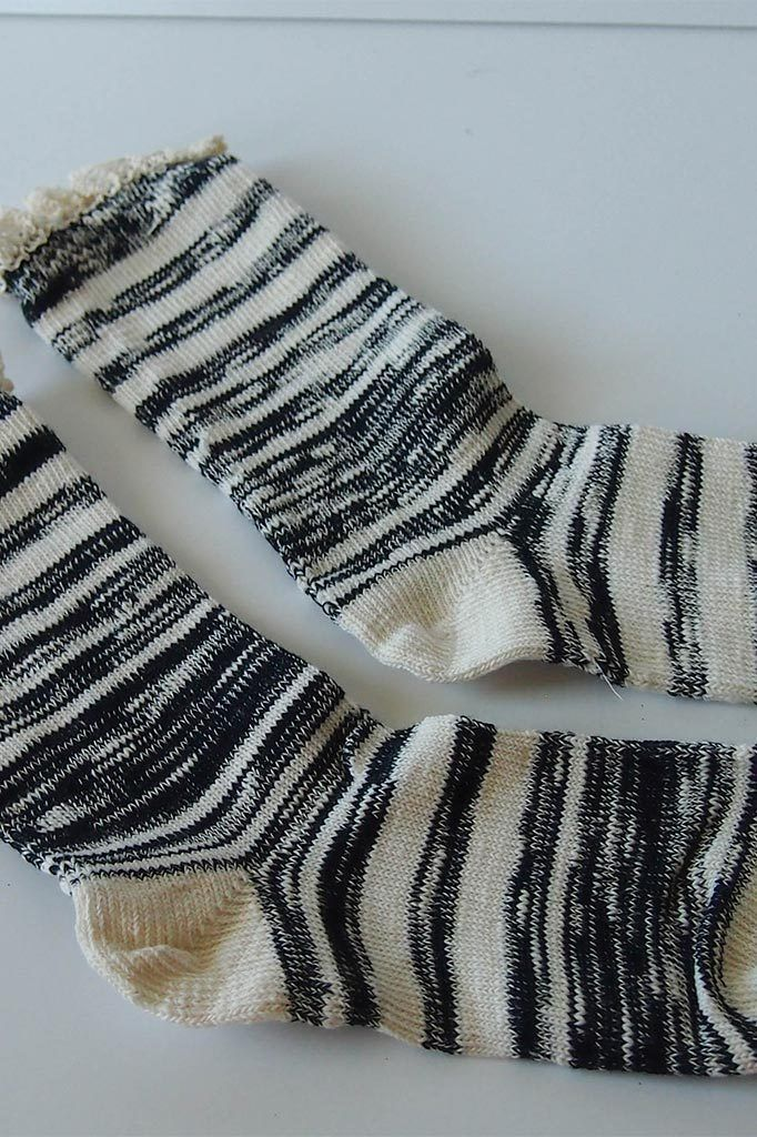 "Black Combo 9"" Marbled Slub Stripes Crew Boot Sock with Crochet Cuff 2"
