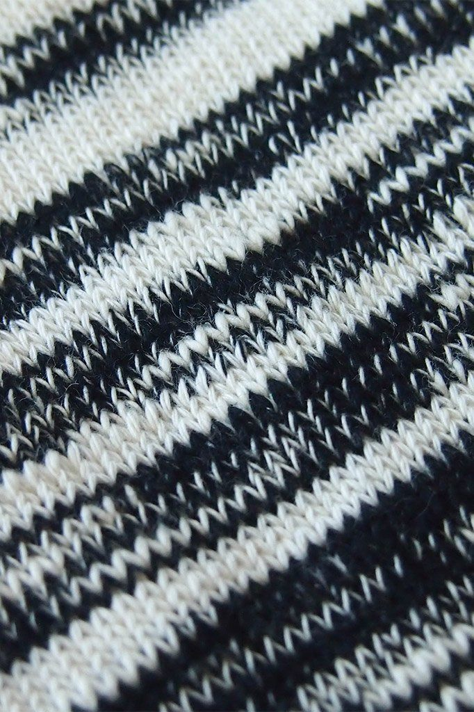"Black Combo 9"" Marbled Slub Stripes Crew Boot Sock with Crochet Cuff 3"