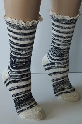 "Black Combo 9"" Marbled Slub Stripes Crew Boot Sock with Crochet Cuff 1"