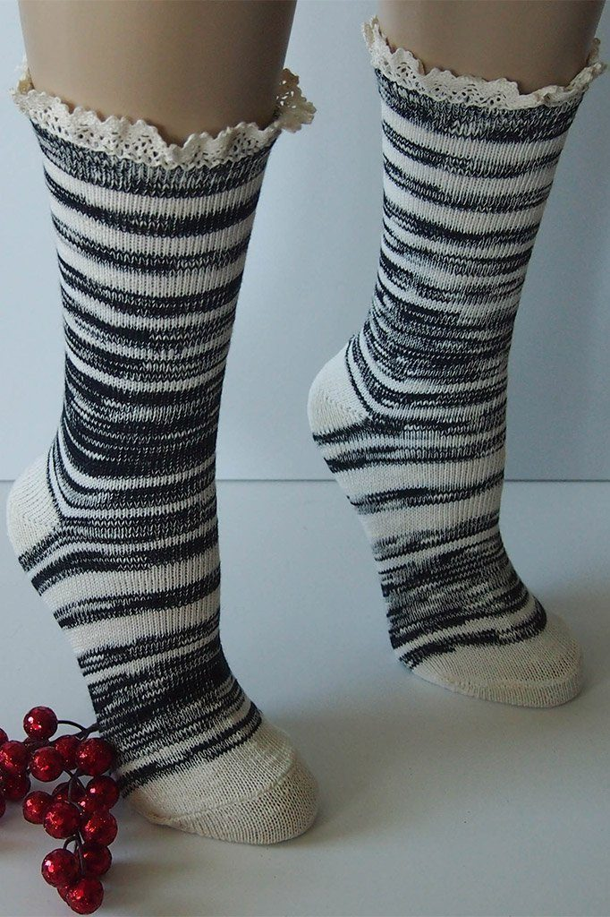 "Black Combo 9"" Marbled Slub Stripes Crew Boot Sock with Crochet Cuff 4"