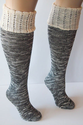 Black Combo Knee High Marbled Knit Boot Sock with Pointelle Cuff 1