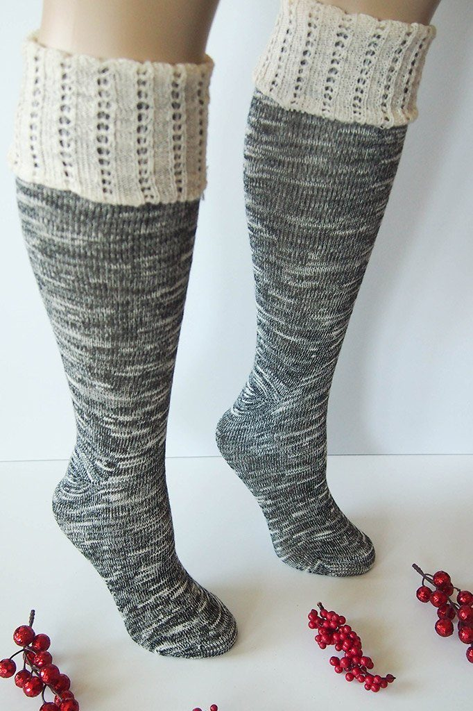 Black Combo Knee High Marbled Knit Boot Sock with Pointelle Cuff 4