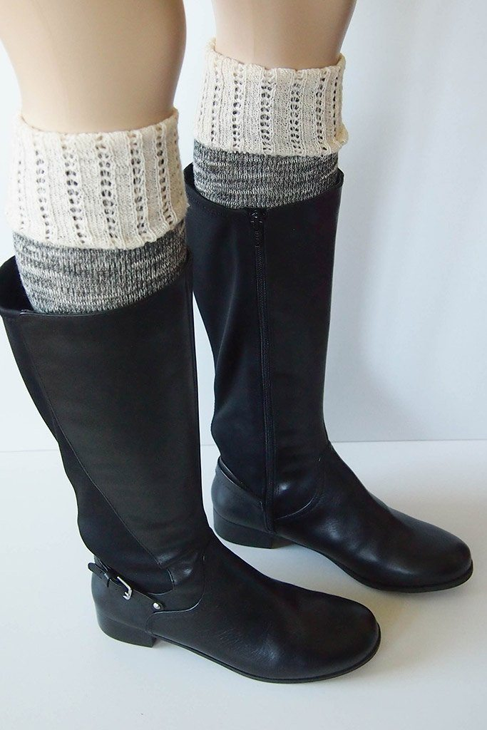 Black Combo Knee High Marbled Knit Boot Sock with Pointelle Cuff 2