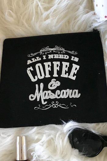 Black Cotton Canvas All I Need Is Mascara & Coffee Quote Cosmetic Bag 1