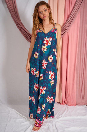 Bloom With A View Navy Blue Floral Print Maxi Dress 1
