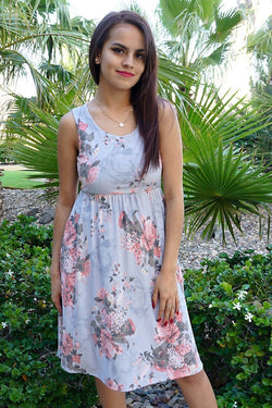 Blossoms On My Mind Blue Floral Print Sleeveless Skater Dress 1