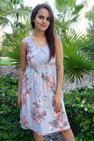 Blossoms On My Mind Blue Floral Print Sleeveless Skater Dress