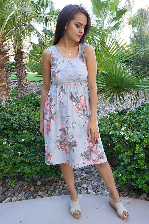 Blossoms On My Mind Blue Floral Print Sleeveless Skater Dress 4