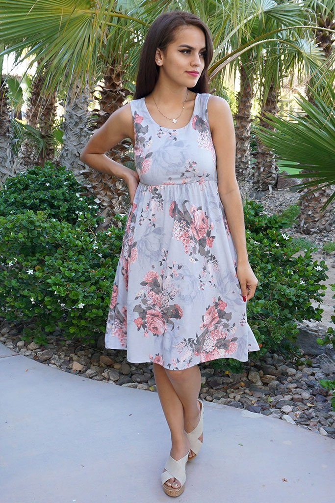 Blossoms On My Mind Blue Floral Print Sleeveless Skater Dress 2