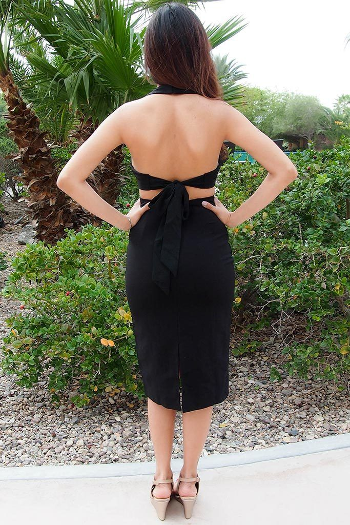 Body Language Tie-Back Black Halter Bodycon Midi Dress 3