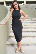 Body Language Tie-Back Black Halter Bodycon Midi Dress 4