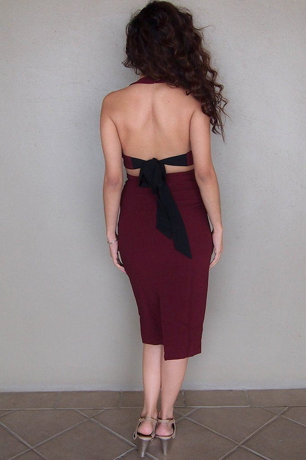 Body Language Tie-Back Burgundy Halter Bodycon Midi Dress 3