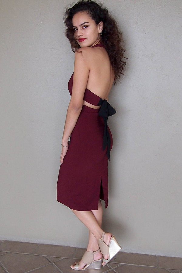 Body Language Tie-Back Burgundy Halter Bodycon Midi Dress 2