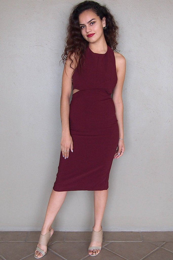 Body Language Tie-Back Burgundy Halter Bodycon Midi Dress 1
