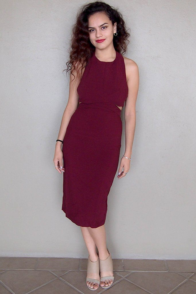 Body Language Tie-Back Burgundy Halter Bodycon Midi Dress 4