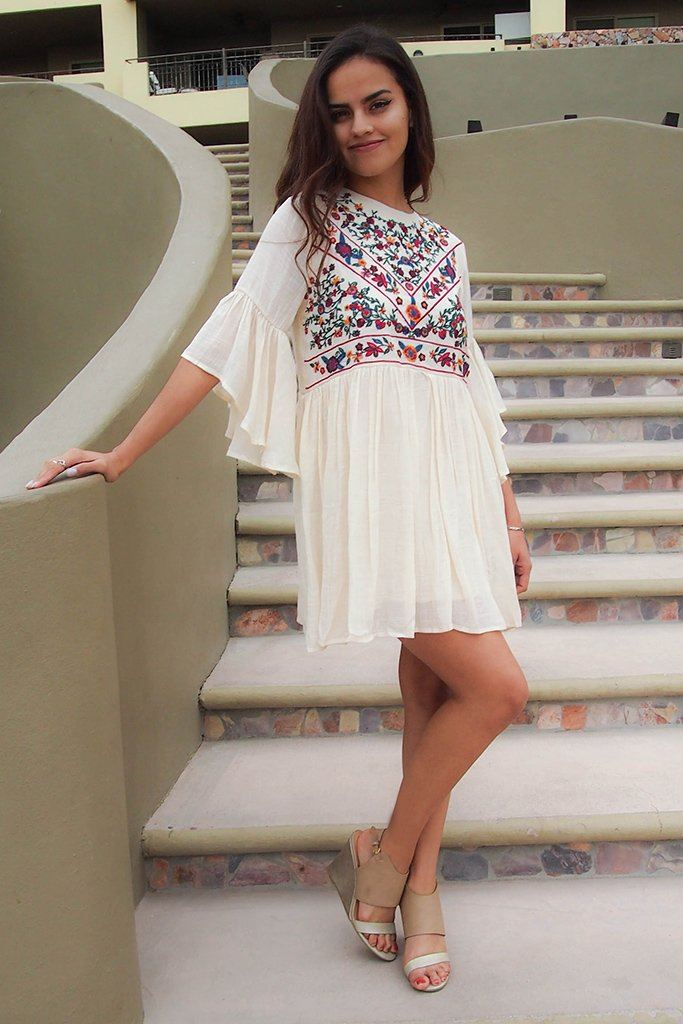 Boho Babe Floral Embroidered Cream Swing Dress 6