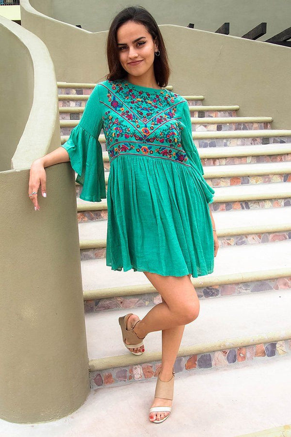 Boho Babe Floral Embroidered Kelly Green Swing Dress 2
