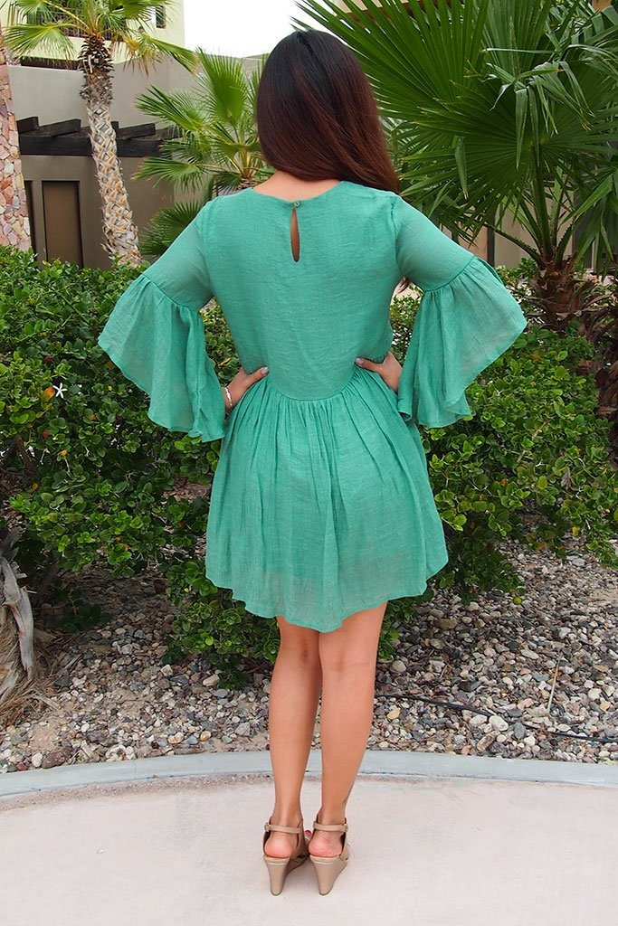 Boho Babe Floral Embroidered Kelly Green Swing Dress 3