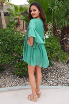 Boho Babe Floral Embroidered Kelly Green Swing Dress 4