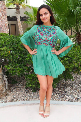 Boho Babe Floral Embroidered Kelly Green Swing Dress 1