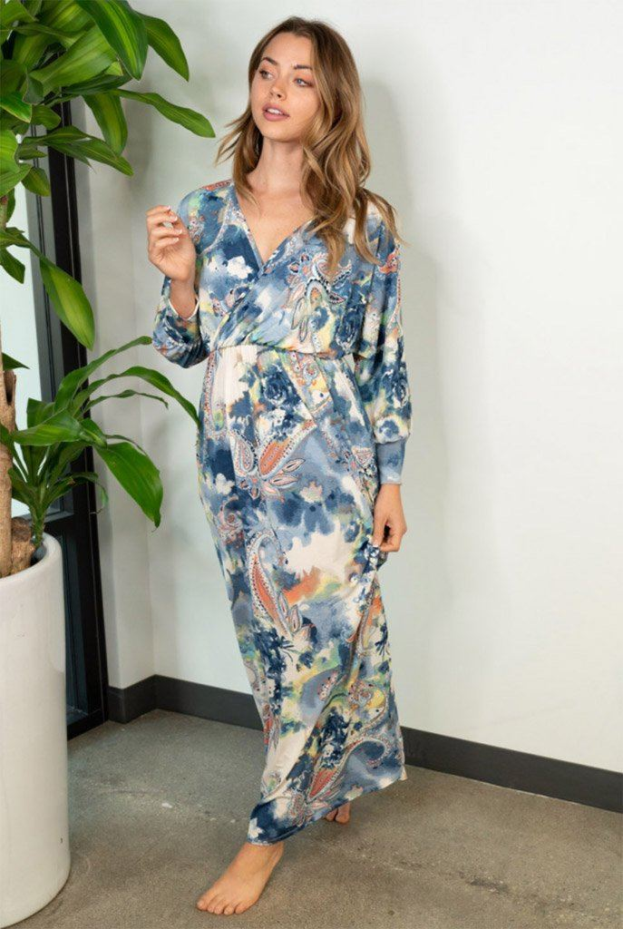 Boho Spring Navy Paisley Maxi Dress 3