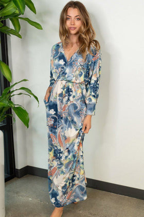 Boho Spring Navy Paisley Maxi Dress 1