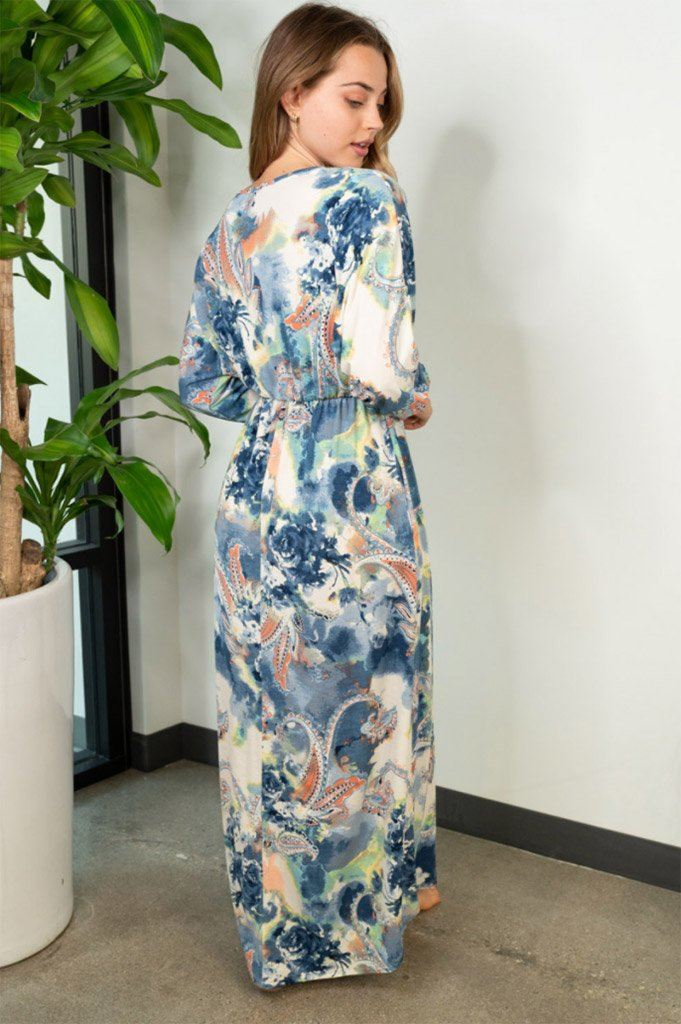 Boho Spring Navy Paisley Maxi Dress 2