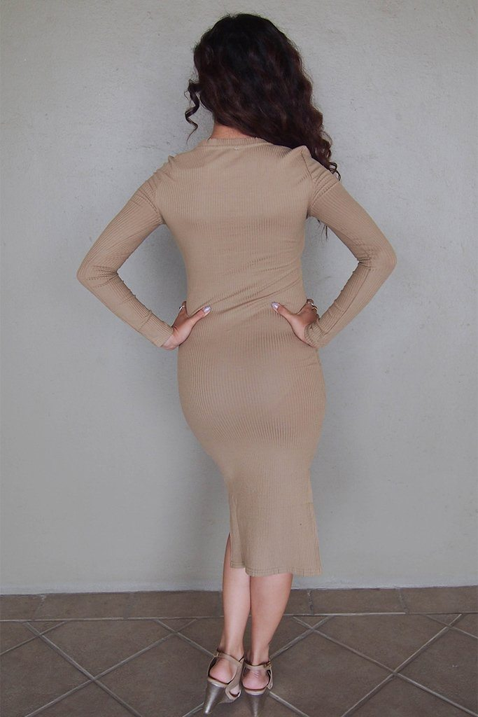 Bombshell Beige Lace Up Long Sleeve Bodycon Midi Dress 3