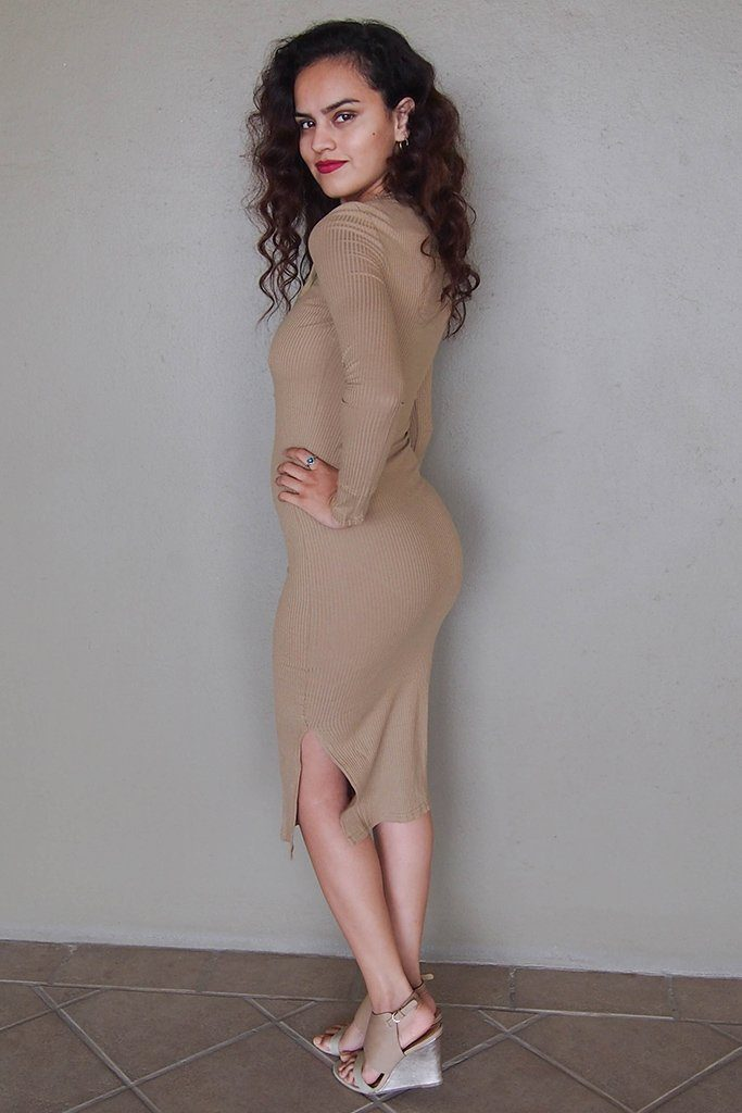 Bombshell Beige Lace Up Long Sleeve Bodycon Midi Dress 2