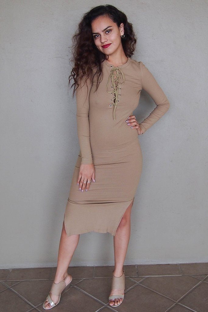 Bombshell Beige Lace Up Long Sleeve Bodycon Midi Dress 4