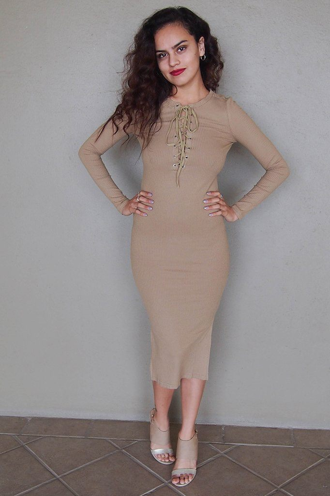 Bombshell Beige Lace Up Long Sleeve Bodycon Midi Dress 1