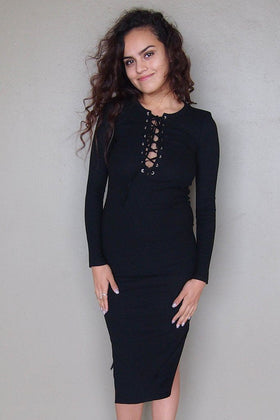 Bombshell Black Lace Up Bodycon Sweater Midi Dress 1