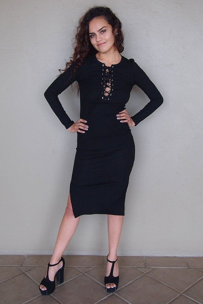 Bombshell Black Lace Up Bodycon Sweater Midi Dress 4