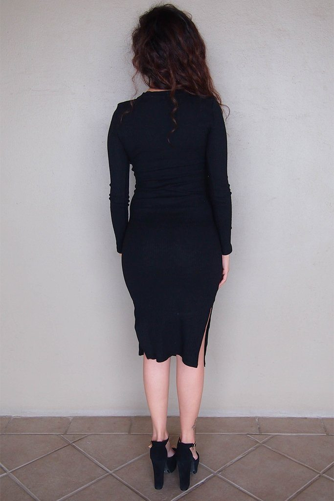 Bombshell Black Lace Up Bodycon Sweater Midi Dress 3