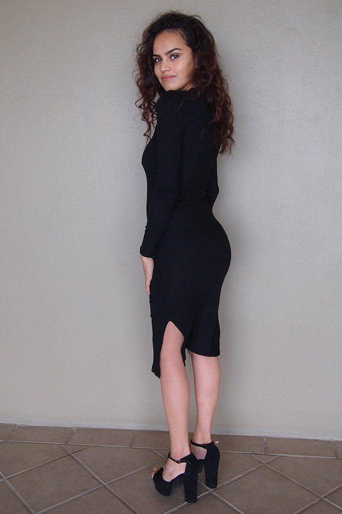 Bombshell Black Lace Up Bodycon Sweater Midi Dress 2