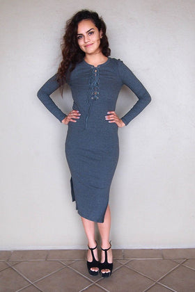Bombshell Charcoal Grey Lace Up Bodycon Midi Dress 1